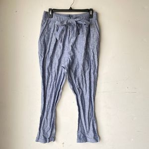 Zara women pants blue front tie linen blend nwot